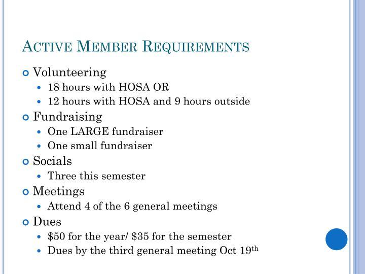 Active member requirements