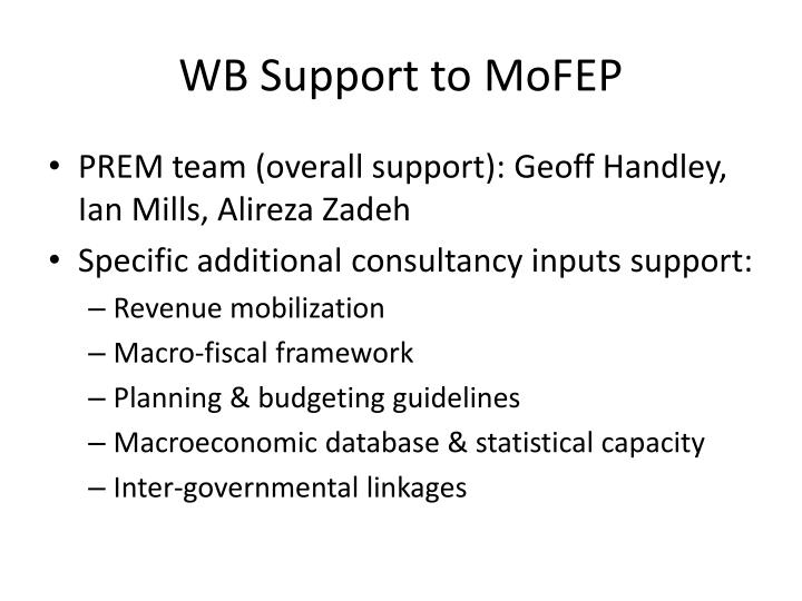 WB Support to
