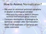 how to assess normalization