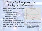 the gcrma approach to background correction