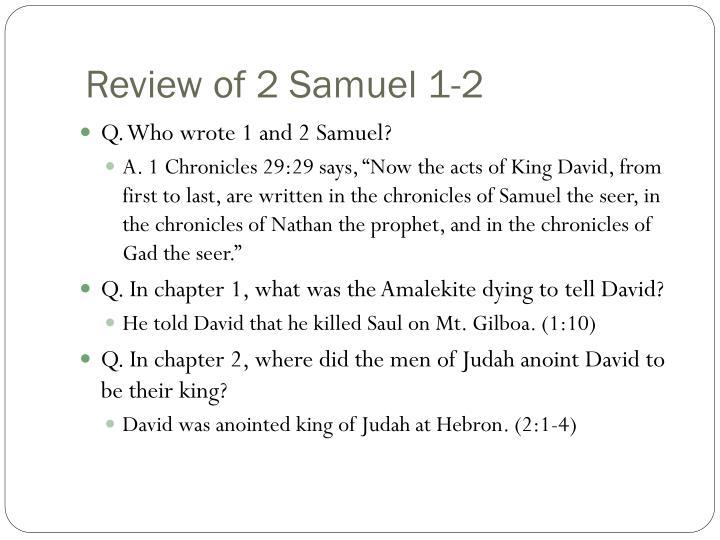 Review of 2 Samuel 1-2