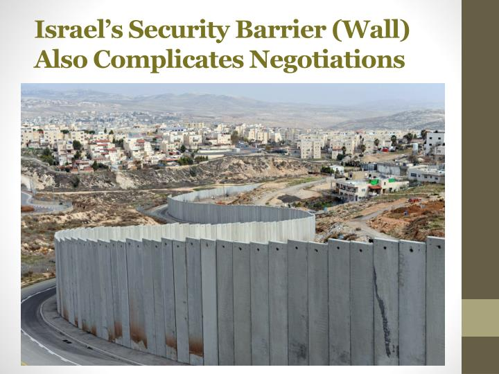 Israel's Security Barrier (Wall) Also Complicates Negotiations