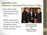 september 2010 obama convened new peace talks