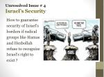 unresolved issue 4 israel s security