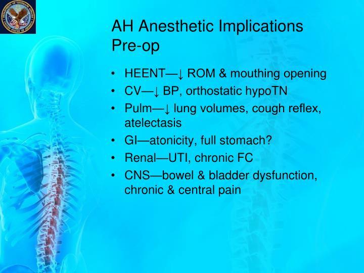 AH Anesthetic Implications