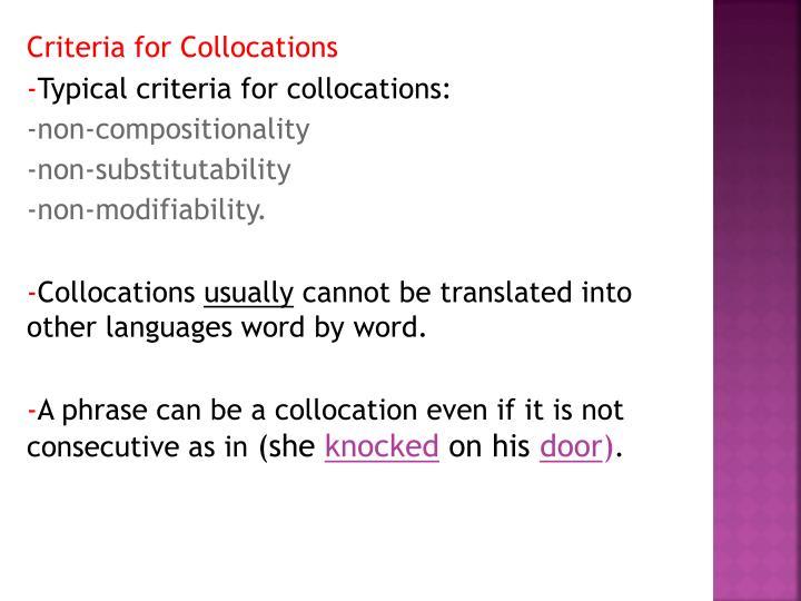 Criteria for Collocations