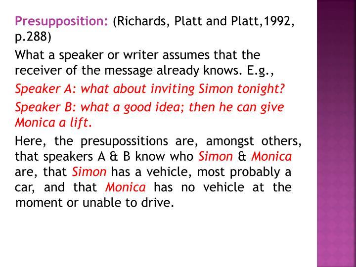 Presupposition: