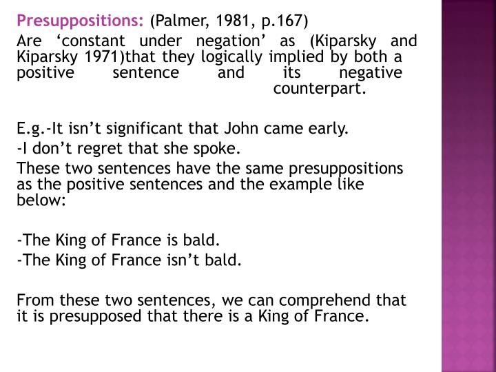 Presuppositions: