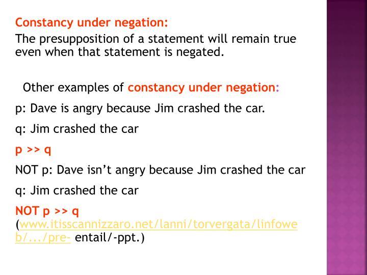 Constancy under negation: