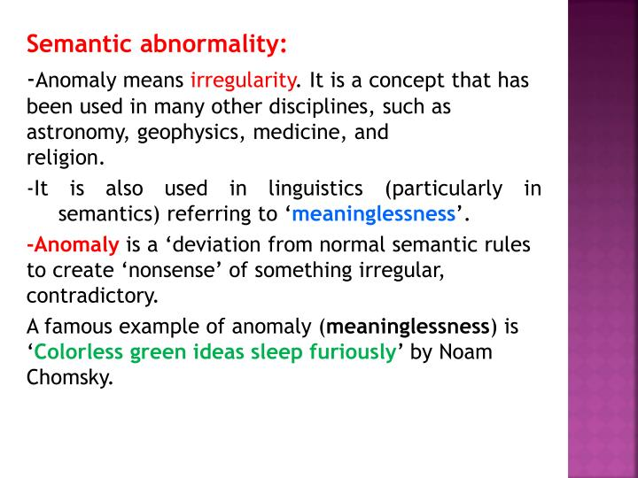 Semantic abnormality: