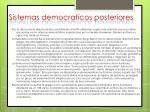 sistemas democraticos posteriores