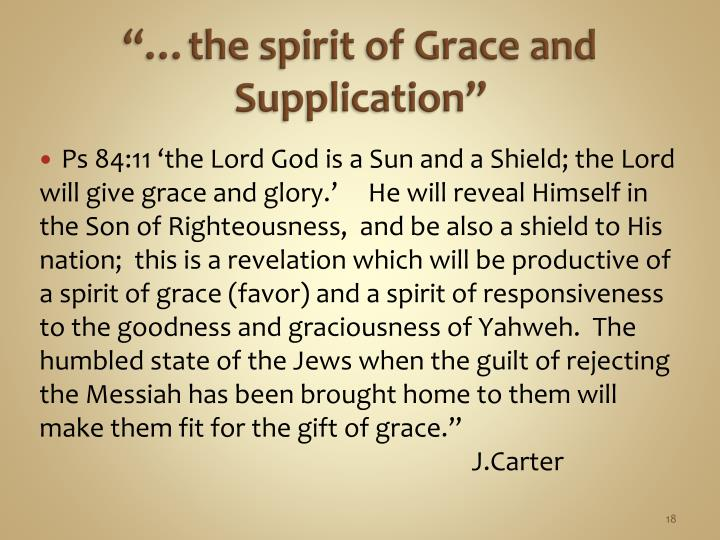 """""""…the spirit of Grace and Supplication"""""""