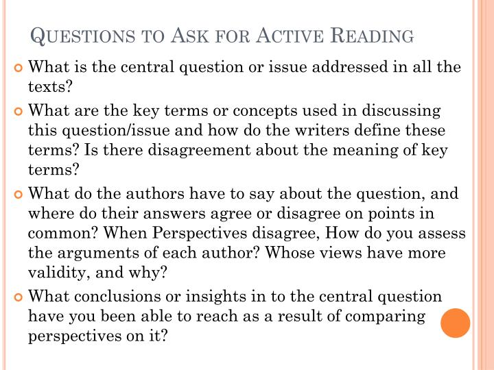 Questions to Ask for Active Reading