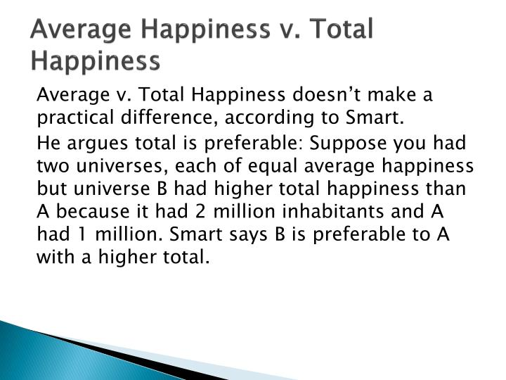 Average Happiness v. Total Happiness