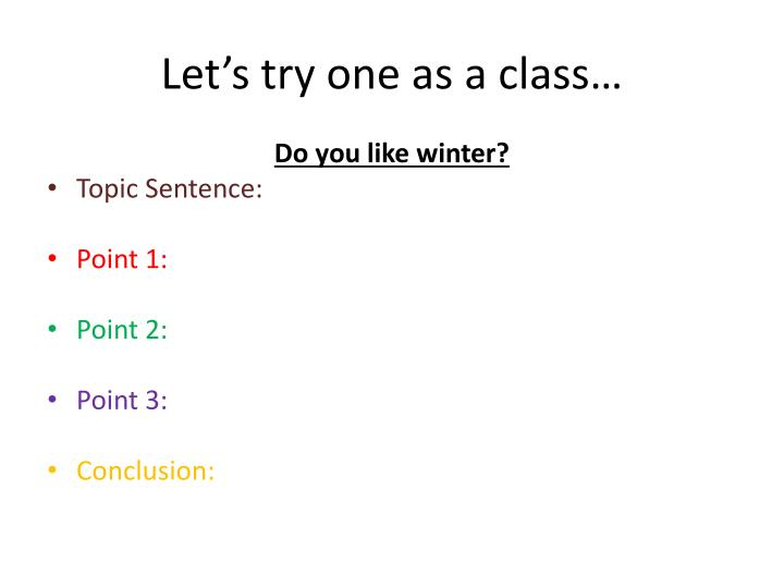 Let's try one as a class…