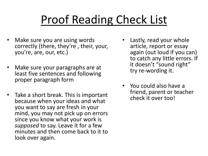 Proof Reading Check List