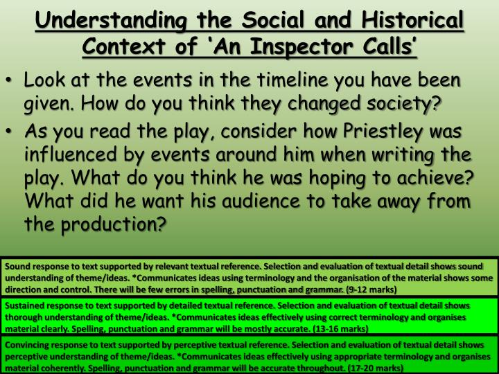 analysis of an inspector calls a play by j b priestley An inspector calls is a well known play by english dramatist j b priestley it was first performed in the uk in 1946, after originally being performed in the soviet union in 1945.