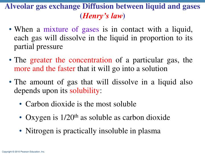 Alveolar gas exchange Diffusion between liquid and gases (