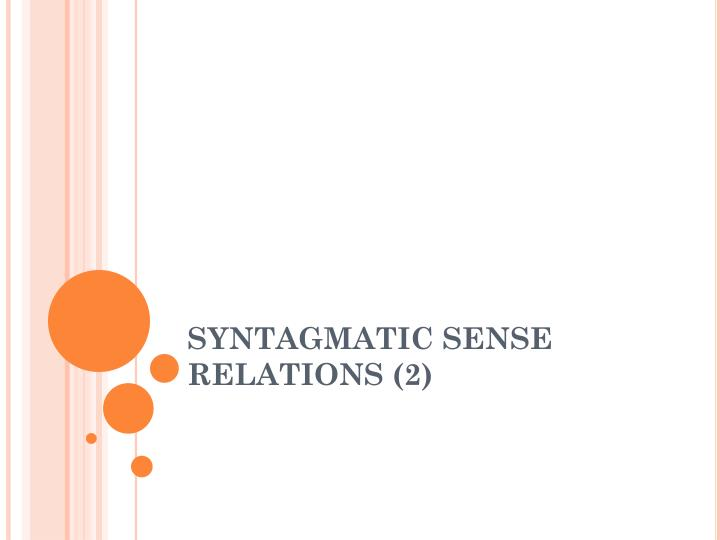 syntagmatic sense relations 2