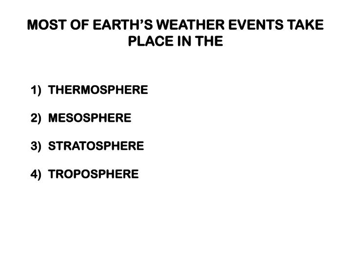 MOST OF EARTH'S WEATHER EVENTS TAKE PLACE IN THE