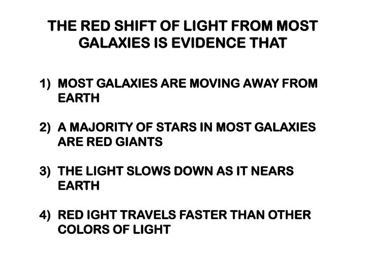 THE RED SHIFT OF LIGHT FROM MOST GALAXIES IS EVIDENCE THAT