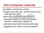 path to integration leadership