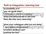 path to integration learning tool