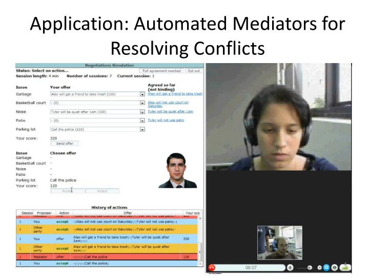 Application: Automated Mediators for Resolving Conflicts