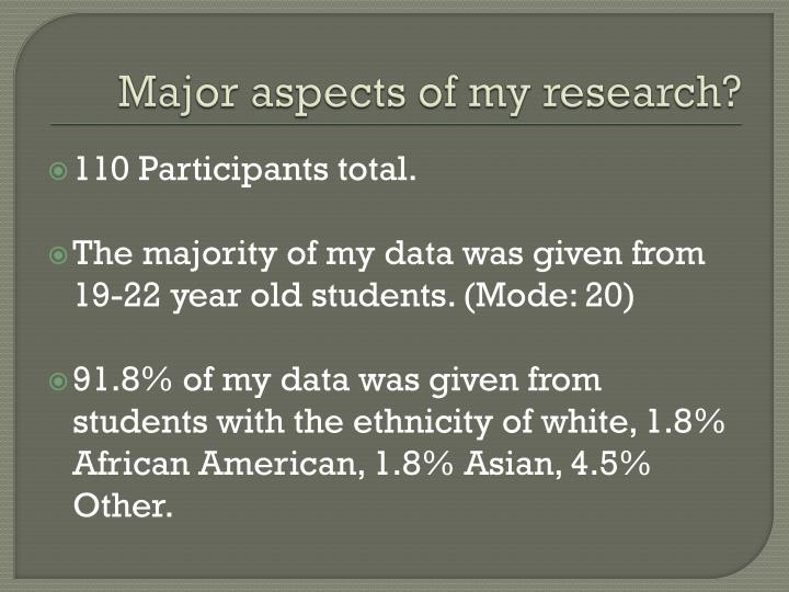 Major aspects of my research?