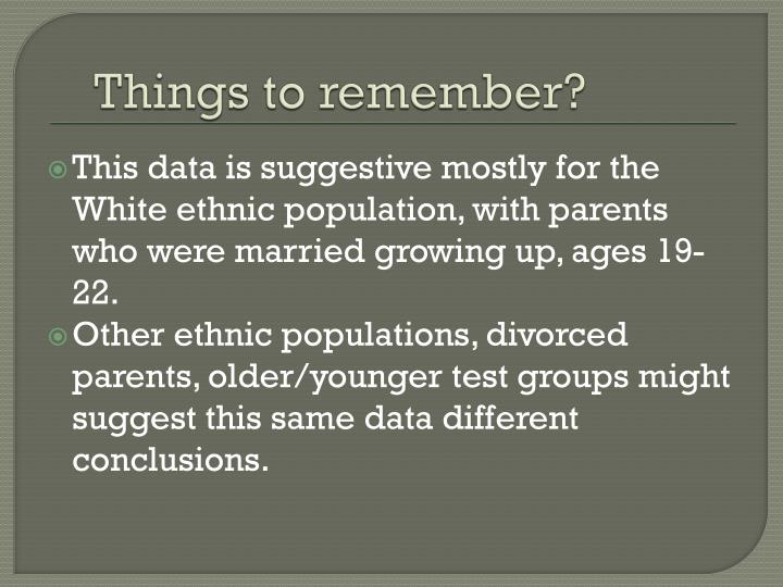 Things to remember?