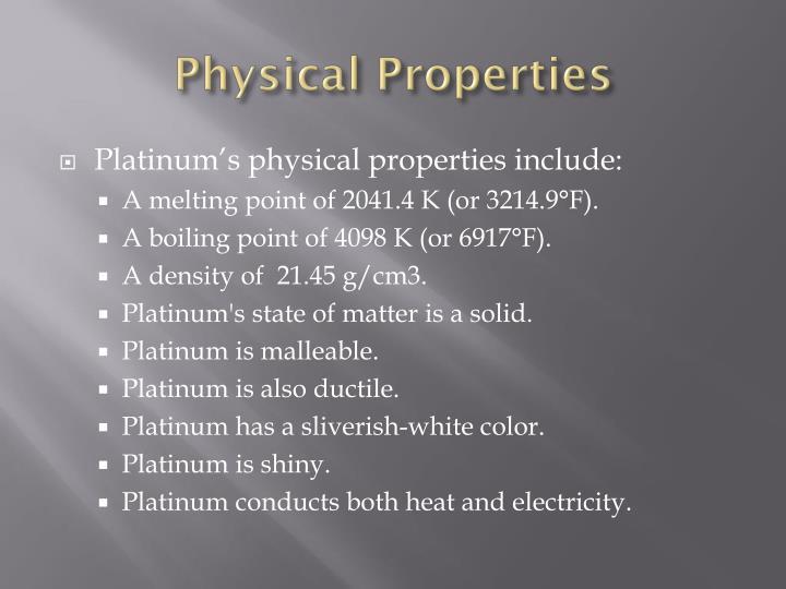 Chemical Properties Of Platinum