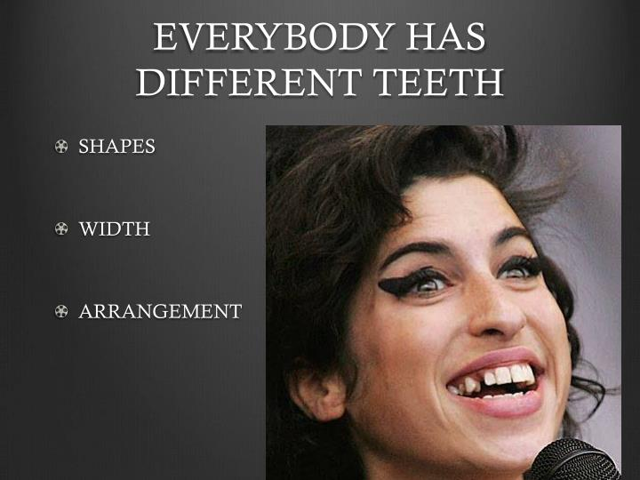EVERYBODY HAS DIFFERENT TEETH