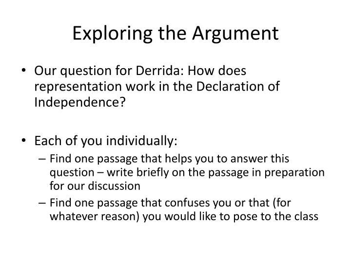 Exploring the Argument