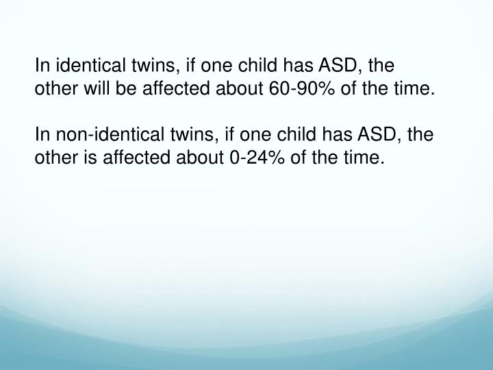 In identical twins, if one child has ASD, the other will be affected about 60-90% of the time.