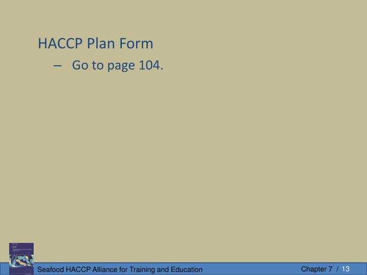 HACCP Plan Form