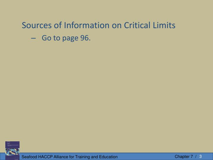 Sources of Information on Critical Limits