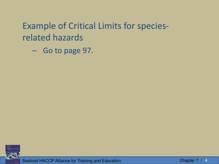 Example of Critical Limits for species-related