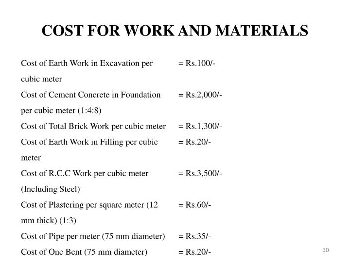 COST FOR WORK AND MATERIALS