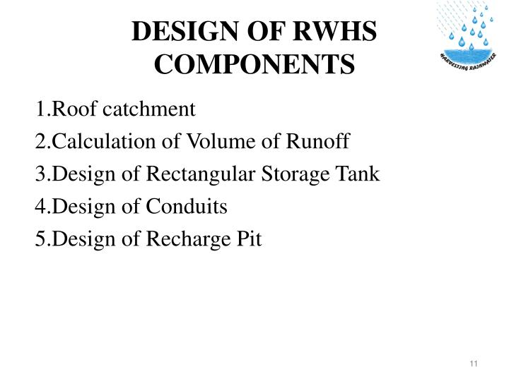DESIGN OF RWHS COMPONENTS