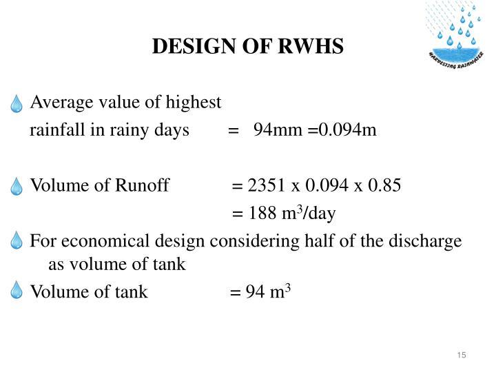 DESIGN OF RWHS