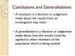conclusions and generalisations