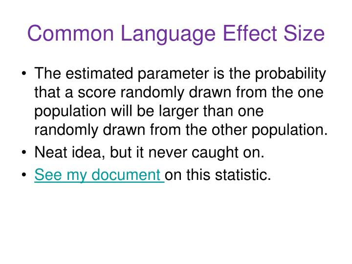 Common Language Effect Size
