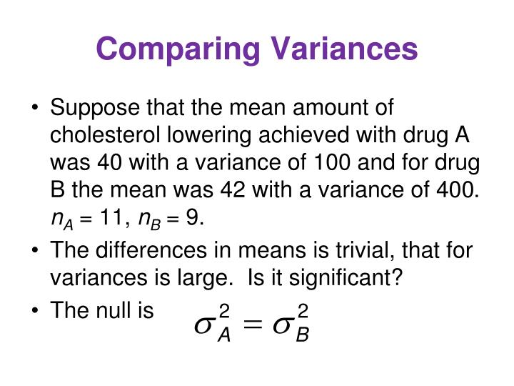 Comparing Variances