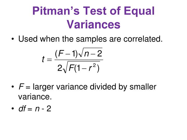 Pitman's Test of Equal Variances