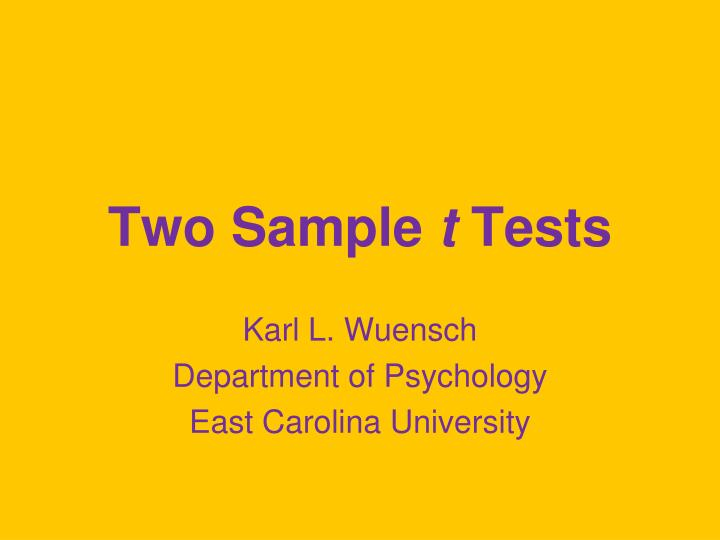 Two sample t tests