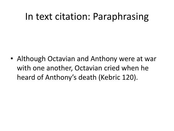 In text citation: Paraphrasing