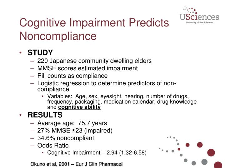Cognitive Impairment Predicts Noncompliance