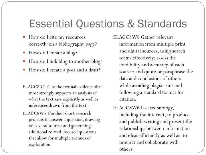 Essential questions standards