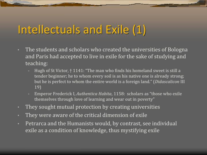 Intellectuals and Exile (1)