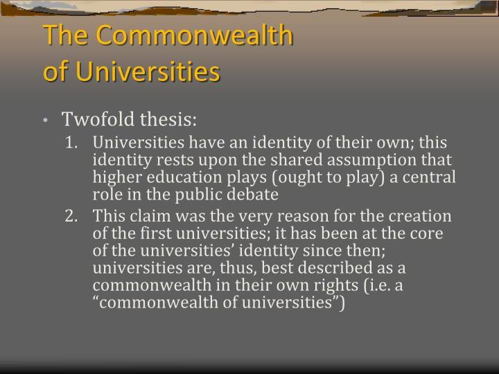 The commonwealth of universities1